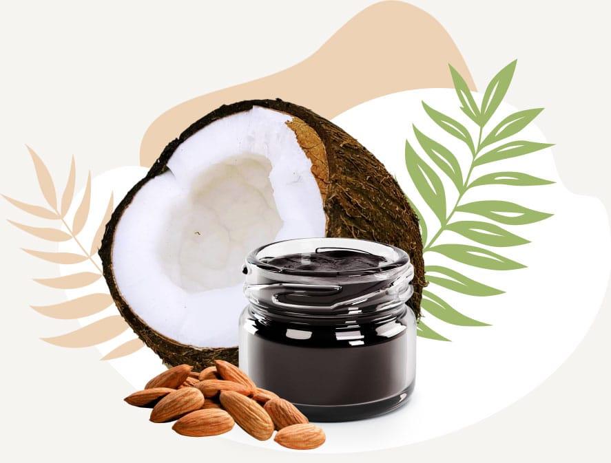 Shilajit jar with coconut and almonds